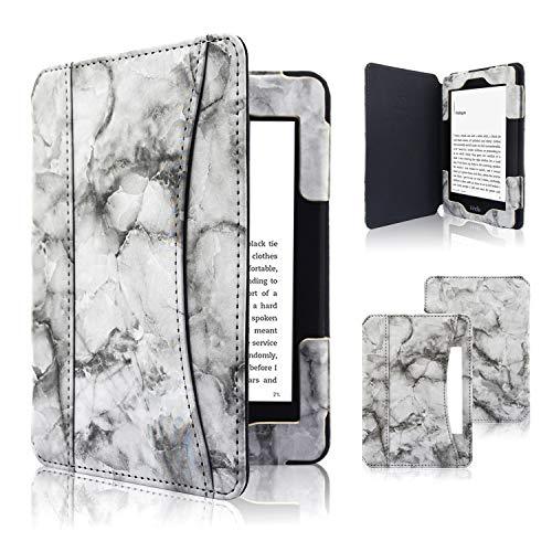 ACcolor Folio Hülle für Kindle Paperwhite (alle Generationen 2012-2018) - PU Leder Schutzhülle Tasche mit Auto Sleep/Wake Funktion für Amazon Kindle Paperwhite eReader, Schwarzer Marmor