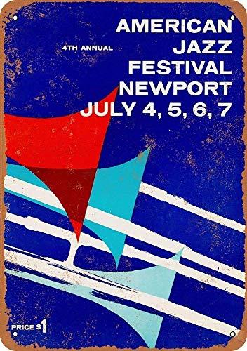Newport Wand Hängen (Forry American Jazz Festival Newport Metall Poster Retro Blechschilder Vintage Schild Zum Cafe Bar Garage Wohnzimmer Schlafzimmer)