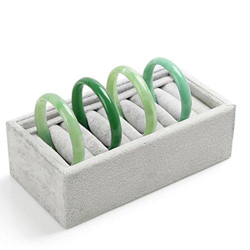 lzttyee weicher Samt Armbänder Armreif Ringe Halter Tablett Schmuck Display Aufbewahrungsbox mit 8Slots für Home oder Jewelry Store grau 8-slot-display-trays