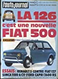 AUTO JOURNAL (L') [No 8] du 01/05/1972 - LA 126 FIAT 500 - RENAULT 5 CONTRE FIAT 127 - SIMCA - FORD CAPRI.