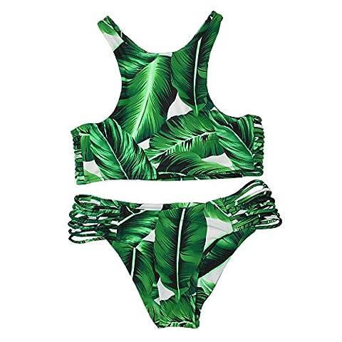 Cupshe Fashion Women's Tropical Leaves Printing Tank Padding Bikini Set, Green (S)