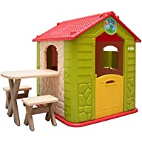 LittleTom childrens Playhouse incl 1 table 2 benches for boys and girls small plastic House for indoors and outdoors Green Beige