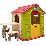LittleTom Casa de Juegos para niños y niñas incl 1 mesa 2 taburetes Casita de plástico para interiores y exteriores Verde Beige