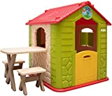 LittleTom Casetta Gioco per Bambini e Bambine incl 1 Tavolo 2 sgabelli casa di plastica per Interni ed Esterni Verde Beige