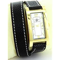 Michael John Damen-Damen-Armbanduhr Leder schwarz double-bracelet Michael John 2269