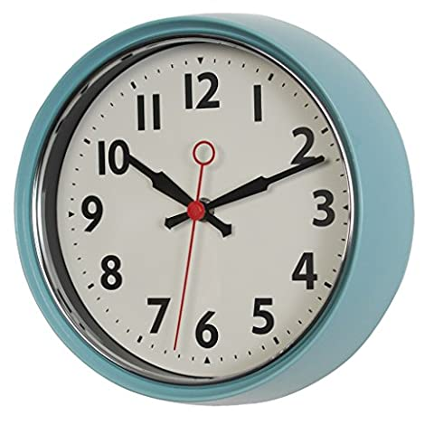 1950s Style Metal Wall Clock - Choice Of Colours ( Blue )
