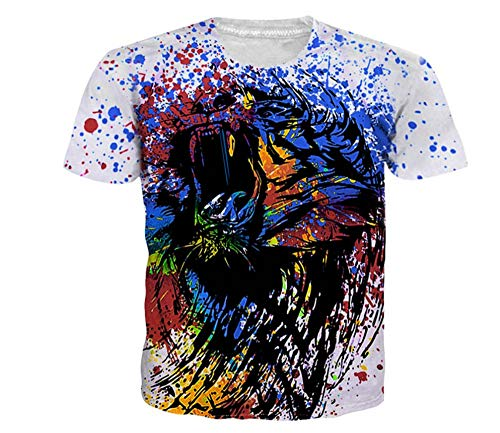 Aquarell Graffiti Tier Löwe 3D Print Tier Cool T-Shirt Männer Kurzarm Sommer Tops Tees Mode T-Shirt Big Size -L -