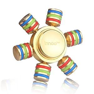 Fidget Spinner, Hand Spinner, Innoo Tech 6 Wings Fidget Spielzeug aus Messing, Tri Spinner, ideal für EDC Focus StressReducer Angst und Autismus, Tolles Geschenke für Erwachsene und Kinder-Gold