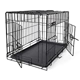 FEANDREA Dog Cage, Foldable Dog Crate, Pet Carrier with 2 Doors, Black PPD30H