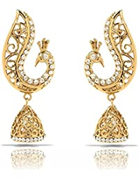 Traditional Ethnic White Peacock Gold Plated Jhumki Dangler Earrings With Crystals For Women By Donna ER30101G