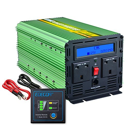 EDECOA 2000W Power Inverter DC 24V to 240V AC with LCD Display and Remote - Green Dc Power Inverter