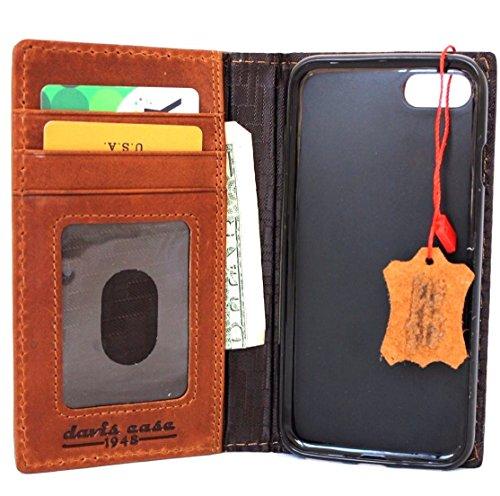 Vera vintage Realizzato a mano in vera pelle per Apple iPhone 8cover Lite cover retro il lavoro Apple pagare e ha RFID