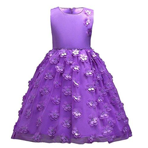Kleid, Sannysis Blumenmädchen Prinzessin Brautjungfer Pageant Tutu Tüll Kleid Party Hochzeitskleid (Lila, 120) (Lila Tutus)