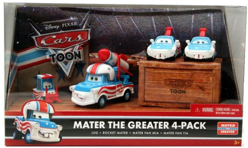 Cars Toon-mater (Disney / Pixar CARS TOON 155 Die Cast Car Mater The Greater 4Pack Lug, Rocket Mater, Mater Fan Mia Mater Fan Tia)
