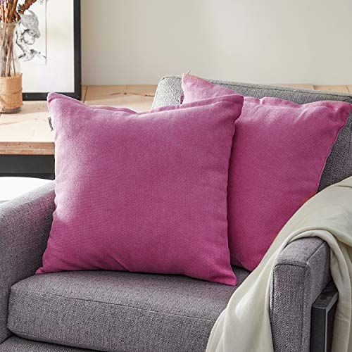 Topfinel Kissenbezüge Einfarbig Chenille Dekokissenhülle mit Verstecktem Reißverschluss für Sofa Auto Bett 2er Set 55cmX55cm Pflaume rot -