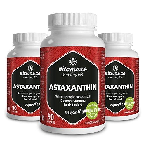 Astaxanthin Kapseln mit 4 mg natürlichem Astaxanthin VEGAN 3x 90 Stück für je 3 Monate Qualitätsprodukt-Made-in-Germany ohne Magnesiumstearat, jetzt zum Aktionspreis und 30 Tage kostenlose Rücknahme!