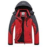 Minetom Herren Softshelljacke Wasserdicht Outdoor Atmungsaktiv Funktionsjacke Sport Winterjacke Wanderjacke Skijacke Doppeljacke Mantel Rot EU 3XL