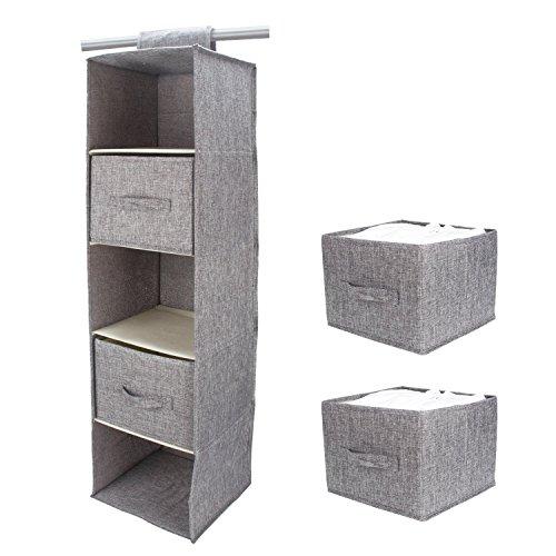 FAMLOVE Organizador de armarios Colgantes 5 estantes con 2 cajones, guardarropa Colgante...