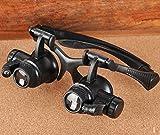 Leeko 4 mods 10x 15x 20x 25x ABS lupen brille , Brillenlupe mit verstellbarem LED Licht für Juweliere Uhrmacher,HD Antique Bewertung