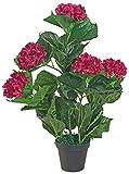 Decovego Künstliche Hortensie Hydrangeaceae Kunstpflanze Pflanze Dunkelrot Rot mit Topf 60cm