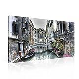 Stadt Venedig Kanal Kunst Leinwand Bilder (PP1130O1FW) - Wallsticker Warehouse - Size O1 - 100cm x 75cm - 230g/m2 Canvas - 1 Piece