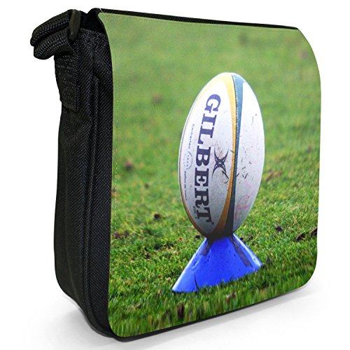 Rugby Ball Kit Team Weltmeisterschaft Kleine Schultertasche aus schwarzem Canvas Rugbyball auf Kicking Tee