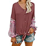 togel Damen V-Ausschnitt Knot vorne Henley Shirt Button-Up Patchwork Cardigan Bluse Frauen Langarm-Shirt Langarmshirt Damen Longsleeve Langarm Basic t-Shirt Langarm Shirts