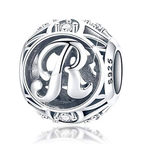 FOREVER QUEEN Alphabet Buchstabe R Charm Bead mit klaren Zirkonia kompatibel für europäische Armbänder 925 Silber Sterling Charm Anhänger,BJ09121-R MEHRWEG