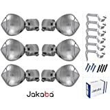 JAKABA Silver Finish Stainless Steel and Alloy Finials with Heavy Support Curtain Bracket Set (Silver, JKB100403) - Pack of 12 Pieces
