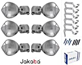 JAKABA Premium Quality Silver Finish Stainless Steel and Alloy Curtain Finials with Heavy Supports - PACK of 12 Pcs. (Finials : 6 Pcs + Supports : 6 Pcs) : Curtain Brackets Set / Holders for Window / Door - JKB100403