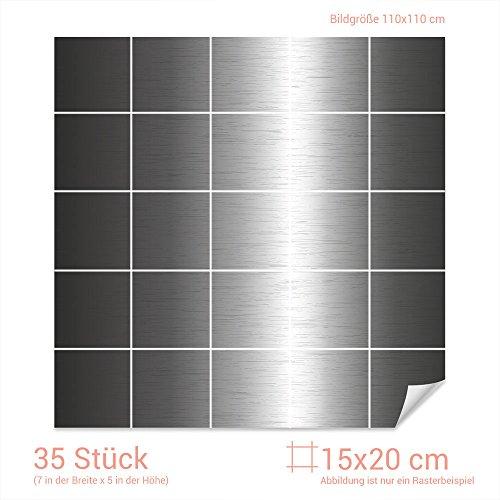GRAZDesign Fliesen Folie Metalloptik - Klebefliesen Stahl - Fliesenaufkleber Küche grau - Fliesenaufkleber glänzende Folie/Fliesenmaß: 15x20cm (BxH) / 768097_15x20_110