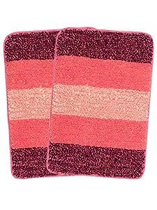 Saral Home Pink Soft Microfiber Anti-Slip BathMat (Pack of 2, 35x50 CMS)
