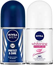 NIVEA MEN Roll-on Deodorant, Protect and Care, 50ml and NIVEA Deodorant Roll-on, Whitening Smooth Skin, 50ml