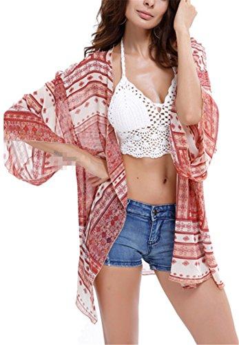 IWFREE Gilet Femme Été Casaul Élégant Mode Imprimé Floral En Mousseline de Soie Courte Gilet de Plage Bikini/Maillot Cover-Up Veste Courte Blouse Manteau Rose