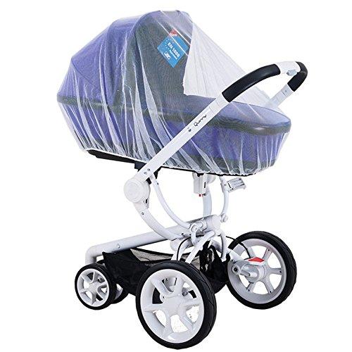 Starcarfter Multifunktionale Universal Baby Cart Voll Abdeckung Moskitonetz Universal-Insektenschutz für Kinderwagen und Babywiegen mit Gummizug Passend für die Meisten Kinderwagen, weiß