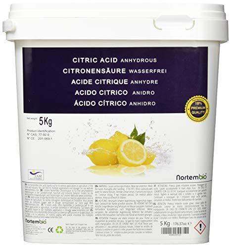 NortemBio Zitronensäure 5 Kg. Wasserfreies Citronensäure Pulver, 100% Reine. Für Ökologischen Produktion. Entwickelt in Deutschland
