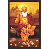 "Mad Masters""Guru Nanak Singh Ji - Sikh Framed Painting""s - Holy Sikh Guru Framed Painting"" (Wood 18 X 12 Inches)"