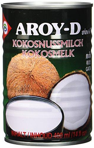Aroy-D Kokosnussmilch, Fettgehalt: ca. 17%, 12er Pack (12 x 400 ml Packung) (Kokos-sahne)