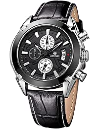 Megir The Professional Chronometer Watch With 3D Sculpted Black Dial For Men's & Boys.