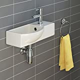 iBathUK | Modern Ceramic Small Cloakroom Basin White Wall Hung Bathroom Sink CA1006