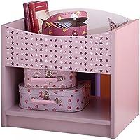 Nachtkommode Sternchen lila / weiß MDF + Melaminharz Nachttisch Nachtkonsole Nachtschrank Nachtkästchen Mädchen Kinderzimmer preisvergleich bei kinderzimmerdekopreise.eu