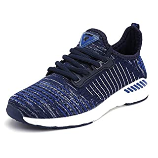 visionreast Ladies Trainers Mens Womens Running Trainers Casual Lace-Up Sport Shoes Walking Shoes Lightweight Gym Fitness Trainers Shoes Mesh Athletic Sneakers Size 4-10(36-48) Blue