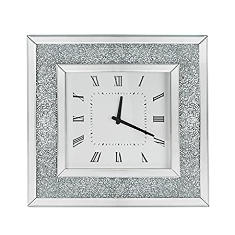 Panana Floating Crystals Bevelled Mirrored Glass Square Wall Clock 50x50CM