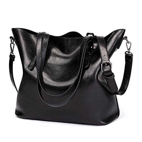 - 51LJxjH1tFL - GoodPro Women Handbags Fashion Handbags for Women Simple PU Leather Shoulder Bags Messenger Tote Bags 285 (Black)