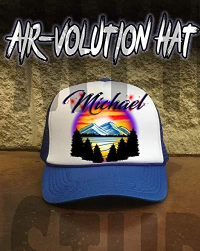 Mythic Airbrush Personalisierte Airbrush Berglandschaft Snapback Trucker-Mütze Eine Grösse passt allen Schwarzer Hut