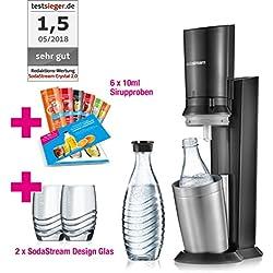 SodaStream Crystal 2.0 Promopack Glass Carafe Bubbler pour titrer de l'eau du robinet en titane