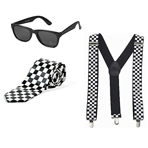 Childrens Kids 1980s SKA Black White Chequered Tie, Braces & Sunglasses Fancy Dress Accessory
