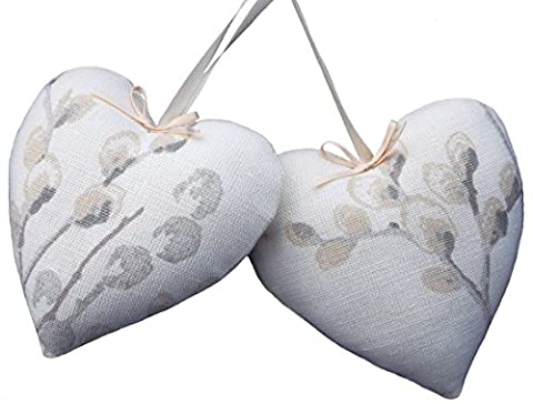 Pair Heart door hangers Laura Ashley Pussy Willow off white dove grey fabric