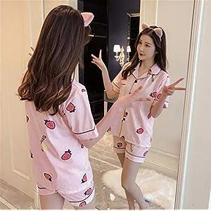Kllomm Karikaturdruckpyjamasbaumwollwollwolljackepullovererdbeerkurzärmelshorts stellten Pyjamas-M der Frauen EIN