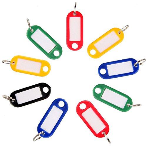 Travezo Schlüsselanhänger, Schlüsselschilder mit Etiketten, Schlüssel ID, Mehrfarbig, 10, 20, 40, 50 Stück, zum Beschriften